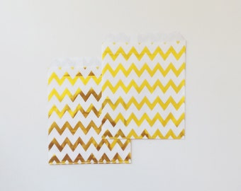 12 Metallic Gold chevrons Paper Bags Party Goodies Sweets