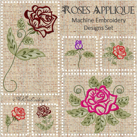 Applique and outline roses set of embroidery designs