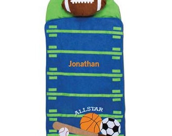 Personalized Sports Nap Mat with embroidered name, Preschool, Nursery, kindergarten Nap Mat, Boys Sports Sleeping Bag