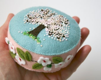 apple blossom wool felt pincushion, hand embroidered