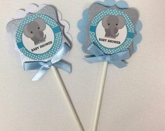 Elephant cupcake  toppers/ Elephant  theme/ Elephant baby shower/ Elephant gray and Light blue