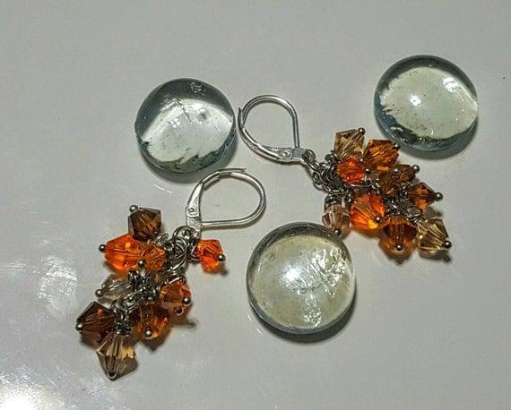 Crystal Cluster Dangle Earrings - Citrus Blast