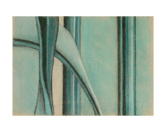 Turquoise Pastel Abstract Drawing- White, Black, Teal- Original Art on Paper- 9x12- Pantone 2016 Limpet Shell