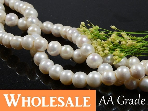 11mm - 12mm Freshwater Pearls WHOLESALE, Large Hole (2.5mm), White Freshwater Pearls AA Grade, Potato Shape Pearls - 1 strand/ order