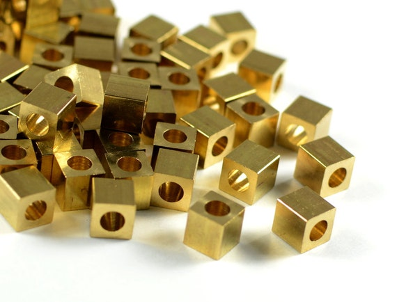Brass Cube 5mm, square spacer beads, smooth edge, raw brass beads  - 25 pcs/ pkg