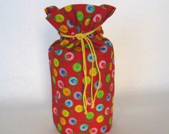 Holiday Gift Bag - Xmas Light Bulbs Reusable Gift Bag - Drawstring Christmas Gift Sack - Gift Wrapping - Eco Friendly Fabric Gift Wrap
