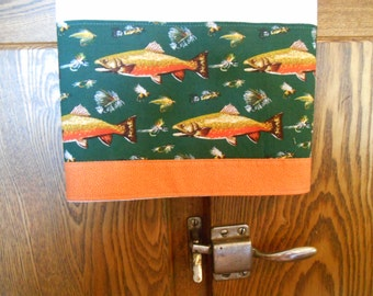Flour Sack Dish Towel with Trout Print