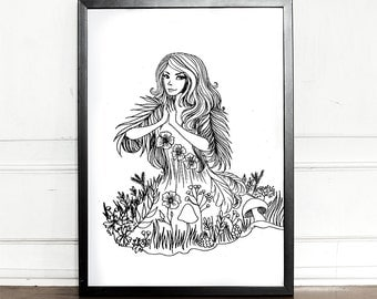 Forest Spirit Printable Coloring Page, For Children and Adults, Instant Download