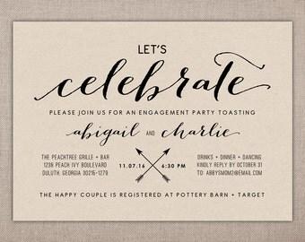ENGAGEMENT CELEBRATION - Printable Invite, Engagement Dinner Party Invitation, Wedding Engagement Invitation, Modern Engagement Invitation