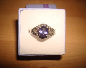 Oval Cut Purple Amethyst And Marcasite 925 Sterling Silver Ring Size 7.75