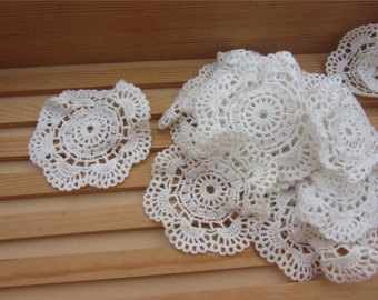 Ivory White Cotton Applique ,Circle applique,Lace applique