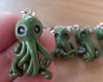 Zombie Octopus Zipper Charm made from polymer clay - lobster clasp - red green - glass bead - blood - ball chain - silver.