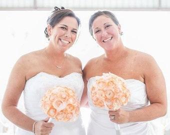 Orange handmade paper bouquets, Alternative wedding bouquets, Fall wedding bouquets, Orange bridal bouquet, Paper bouquets,