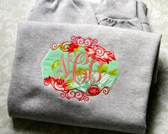 Monogram Applique Patch Sweatshirt Women's Monogrammed Sweatshirt