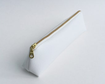 XS White Faux Leather Makeup Bag, Pencil Case, Zipper Pouch. Vegan Leather, Pleather, Vinyl, Gold Metal Zipper.