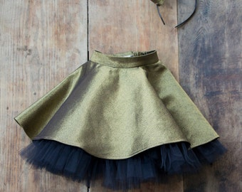 Super SALE! Golden jeans skirt with tulle/skirt with tulle/402AW16
