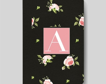 iPad Folio Case, iPad Air Case, iPad Air 2 Case, iPad 1 Case, iPad 2 Case, iPad 3 Case, iPad Mini 1 2 3 4, Black & Pink Floral Monogram Case