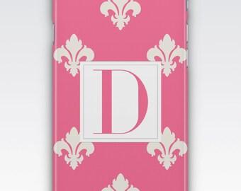 Case for iPhone 8, iPhone 6s,  iPhone 5s,  iPhone SE,  iPhone 5c,  iPhone 7,  Pink & White Monogram iPhone,  Fleur De Lys iPhone
