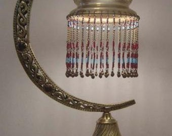 Handmade Half Moon Moroccan Brass Beaded lamp (Vintage/Antique)