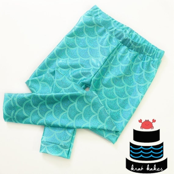 Girls Aqua Metallic Mermaid Leggings. Baby Leggings. Toddler Leggings Fish scale leggings. Dance and Gymnastics