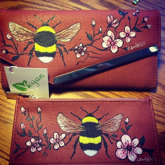 Women wallet with hand painted Bees and Cherry blossoms