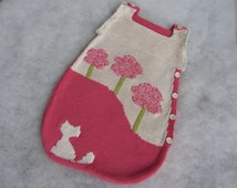 Hand knit baby bunting bag made of all natural yarn. Size 0-6 months.