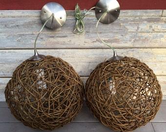 "Vintage Pair of Twig Sphere Hanging Pendant Lights 16"" Diameter Ball Globe **FREE SHIP**"