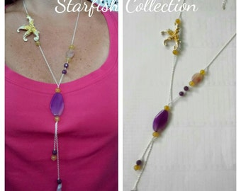 Italian silver long necklace starfish yellow