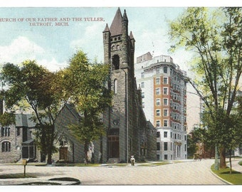 Detroit, Michigan Church of Our Father and the Tuller Hotel, Divided Back Old Postcard (Postmarked July 26, 1908)