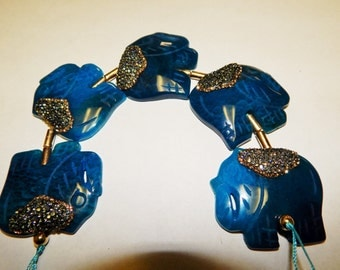 Blue Agate Elephant Rhinestone Pave 5pc Strand. Center Drilled. or jewelry making. Approx. Size: 40mm x 45mm. SKU# 146