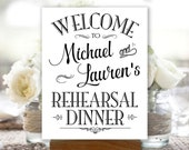 Rehearsal Dinner Sign Welcome Black and White Printable Personalized with Names (#REH1B)