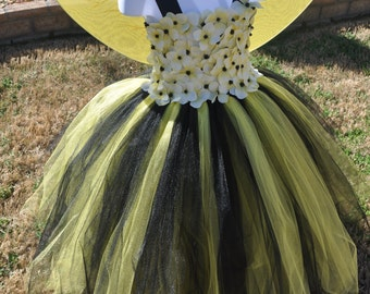 Girls Bumble Bee Inspired Tutu Dress, Yellow Black Toddler Infant Dress, Bee Infant Toddler Dress, Batman Inspired Dress