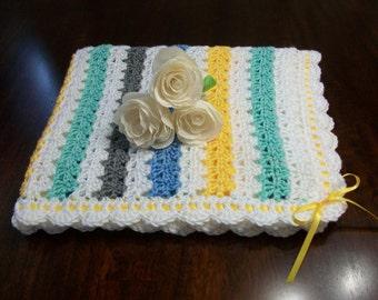 White Crochet Baby Blanket, White Crochet Baby Afghan, Gray Handmade Baby Blanket, Green Baby Blanket, Green Blue White Newborn Blanket