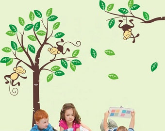 Monkeys in Tree  - Extra Large Nursery Wall Sticker / Wall Decal AW1206