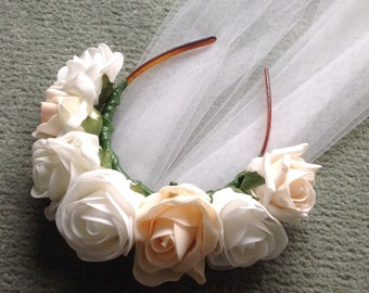 Floral hen do headband with veil