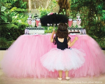 Pink Tutu Table Skirt CUSTOM MADE Tulle Tableskirt for Princess Party Candy Table Wedding Head table Bridal Baby Shower Dessert table Decor
