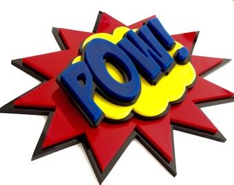 Comic Book Sign 3D - POW ! - Pop Art Style, Speech Bubble, Bubble Burst