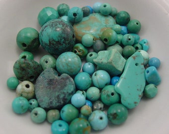 70+ Beads.  Turquoise Beads. Mixed Lot. Assorted Shapes and Sizes.  -  SALE!  #6426