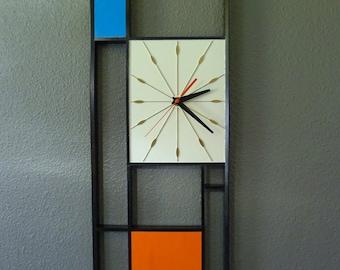 Mid Century Inspired Handmade Black Orange and Blue Geometric Wall Clock