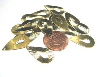 50pcs Brass Teardrop hoop Earring Pendant 20mm Diamond cut Shining Charm