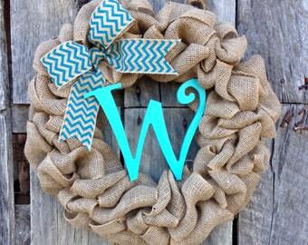 Chevron wreath, burlap wreath, summer wreath, year round wreath, red and gray door wreath