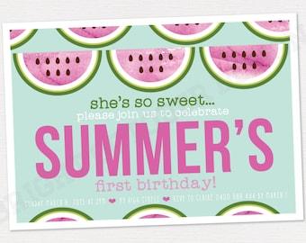 watermelon first birthday invitation   DIGITAL DOWNLOAD