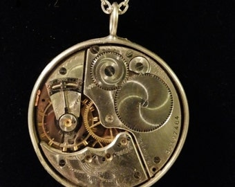 Christmas Sale- Steam Punk  Watch Movement Necklace - Large Pocket Watch
