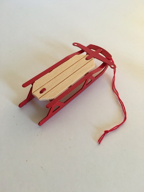 Vintage wood and red metal sled christmas ornament
