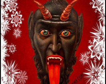 Krampus Candle Adhesive Label - Screaming Head