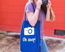 Oh snap! Camera canvas tote bag/ monogram/custom tote/ market bag/custom monogram/ personalized bag/ market tote/ photographer bag/