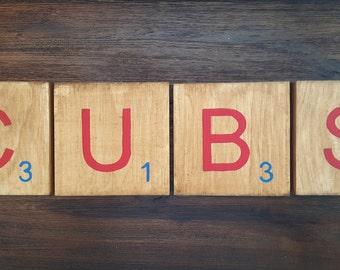 Chicago Cubs sign, Cubbies giant scrabble tiles, Baseball decor, Wrigleyville decor, Chicago  wooden wall art, Wood sign, World Series 2016