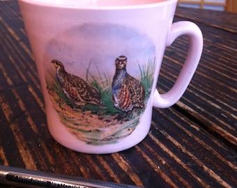 Rare Vintage Partridge Scenery Pink Cup/Mug 1950's