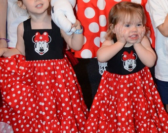 Our Twirl Minnie Mouse inspired Bow Back Sundress. Perfect for the playtime, parties, or a Disney vacation!