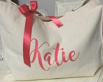 bridal tote, personalized tote, bride tote, bride bag, bridesmaid tote, monogrammed tote, bridesmaid gift